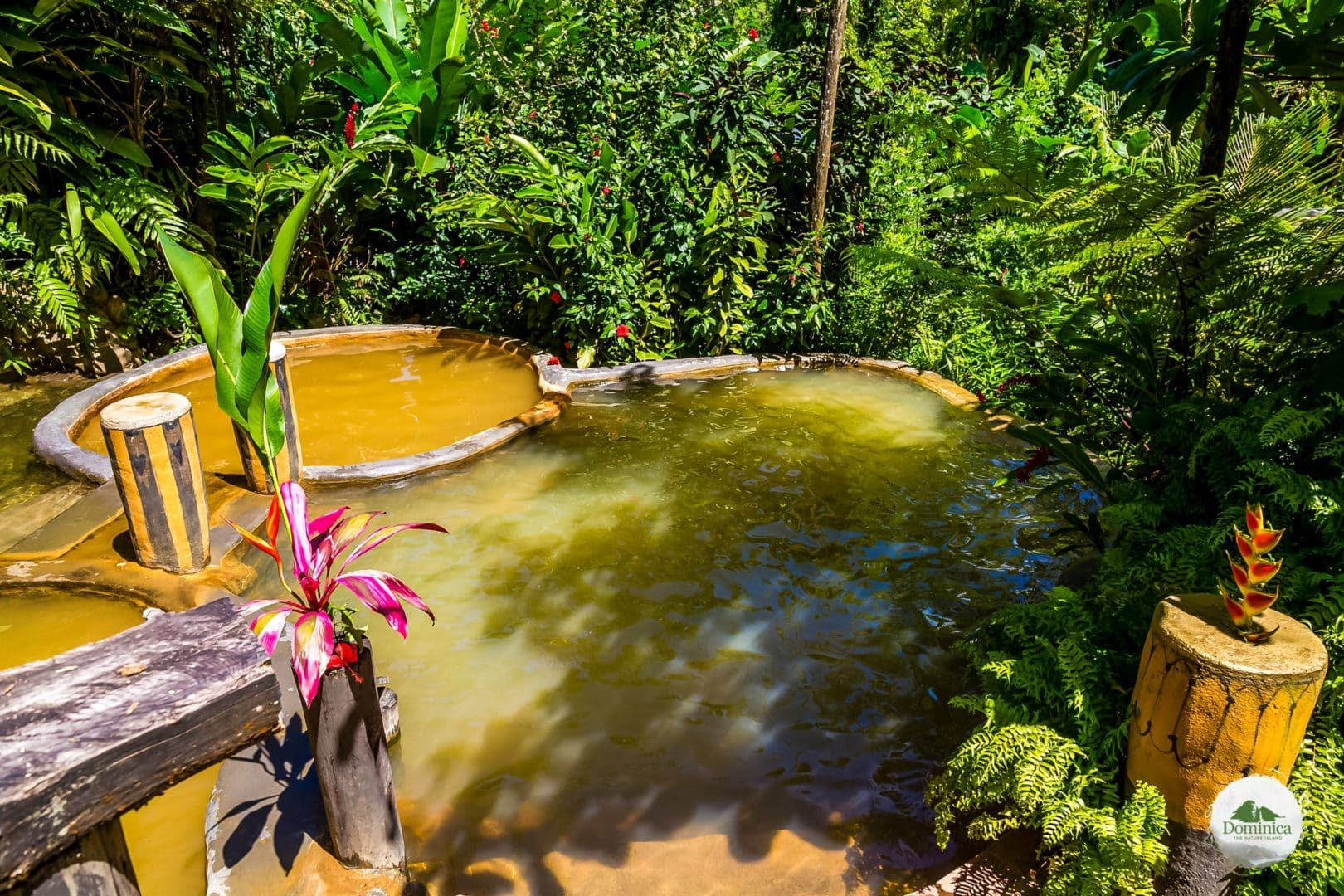 Bongo Baths Wotten Waven Dominica introduces the natural landscape Dominica, the Nature Island in Caribbean